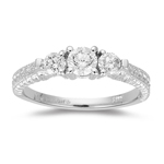 0.60 Cts Diamond Three Stone Filigree Ring in 18K White Gold