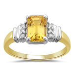 0.08 Cts Diamond & 1.50 Cts Yellow Sapphire Ring in 14K Two Tone Gold