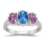 0.02 Cts Diamond, 0.81 Cts Pink Tourmaline & 0.78 Cts London Blue Topaz Three Stone Ring in 14K White Gold