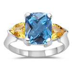 4.05 Ct AAA Swiss Blue Topaz-Yellow Aquamarine Three Stone Ring-14KW Gold