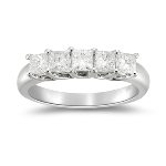 1.00 Ct Diamond Five Stone Ring in Platinum