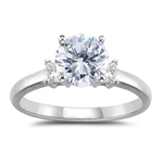1.25 Cts Round Diamond Engagement Three-stone Ring in 18K White Gold