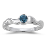 1/4 Cts Teal Blue Diamond Solitaire Ring in 10K White Gold