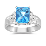0.10 Cts Diamond & 2.75 Cts Swiss Blue Topaz Ring in 14K White Gold