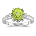 0.14 Cts Diamond & 2.04 Cts AAA Peridot Ring in 10K White Gold