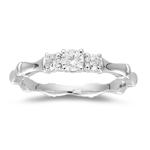 0.33 Ct Diamond Three Stone Ring in 18K White Gold