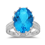 10.28 Ct 16x12 mm AA Oval Blue Topaz Filigree Ring in 10K White Gold