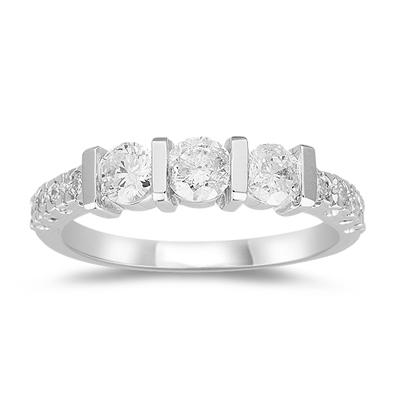 Anniversary Ring - 1.00 Ct Diamond Ring in 18K White Gold