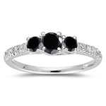 0.85 Cts Black & White Diamond Three Stone Ring in 18K White Gold