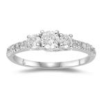 Three Stone Ring - 2/3 Ct Diamond Three Stone Ring in 18K Gold