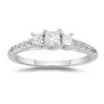 1/2 Cts Diamond Three Stone Anniversary Ring in 18K White Gold
