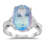 0.04 Cts Diamond & 6.50 Cts of 14x10 mm Oval-Concave-OPTIX Cassiopeia Mystic Topaz Ring in 10K White Gold