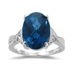 0.05 Cts Diamond & 6.24-8.34 Cts AAA London Blue Topaz Ring in 14K White Gold