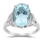 Aquamarine Ring - Diamond & Aquamarine in 14K Gold