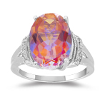 0.03 Cts Diamond & 6.24 Cts Mystic Azotic Topaz Ring in 10K White Gold