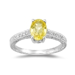 1/10 Cts Diamond & 1.50 Cts Yellow Sapphire Ring in 14K White Gold