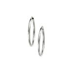 Plain Endless Wire Hoop Earrings in 14K White Gold