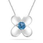 0.27 Cts of 4 mm AA Round Swiss Blue Topaz Solitaire Pendant in Silver