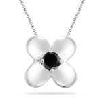 0.40 Cts Black Diamond Solitaire Pendant in Silver - Christmas Sale
