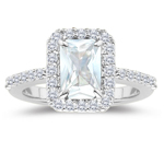0.40 Cts Diamond & 1.65 Cts White Sapphire Ring in 14K White Gold