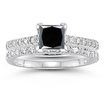 1.60 Cts White & Black Diamond Engagement-Wedding Rings in 14K White Gold