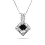 0.75 Cts Black Diamond & 0.32 Cts White Diamond Pendant in 14K White Gold