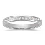 0.10-0.15 Cts  SI2 - I1 clarity and I-J color Diamond Wedding Band in 18K White Gold