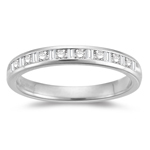 0.20-0.25 Cts  SI1 - SI2 clarity and I-J color Diamond Wedding Band in 18K White Gold