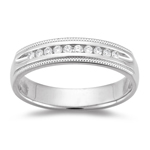 0.05-0.10 Cts  SI1 - SI2 clarity and I-J color Diamond Wedding Band in 18K White Gold