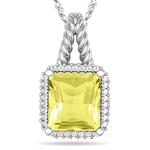 0.34 Cts Diamond & 4.41 Cts Lemon Citrine Pendant in 14K White Gold