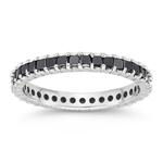 1.23 Cts Black Diamond Eternity Ring in 14K White Gold