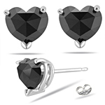 1.69 Cts Black Diamond Heart Stud Earrings in 14K White Gold