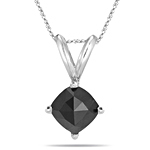 1.06 Cts Black Diamond Solitaire Pendant in 14K White Gold