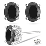 2.03 Cts of 5.5x7 mm AA Oval Black Diamond Scroll Stud Earrings in 14K White Gold