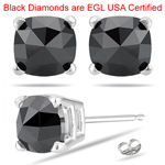 2.19 Cts AA EGL USA Certified Cushion Rose Cut Black Diamond Stud Earrings in 14K White Gold
