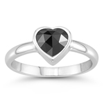 0.87 Cts of 5x5 mm AA Heart Rose Cut Black Diamond Solitaire Heart Ring in 14K White Gold