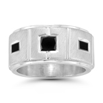 0.57 Cts Black Diamond Ring in Silver