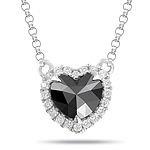 0.85 Cts Black & White Diamond Heart Pendant in 14K White Gold