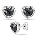 1.75 Cts Black & White Diamond Heart Earrings in 14K White Gold