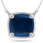 2.33 Cts London Blue Topaz Solitaire Pendant in 14K White Gold