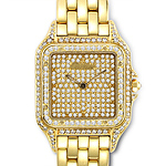 Diamond Studded Cartier Cougar Watch in 18K Yellow Gold