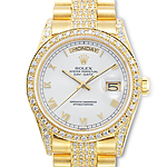Diamond Studded Rolex Oyster Perpetual Day-Date Watch in 18K Yellow Gold