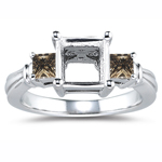 0.38 Cts Champagne Diamond Ring Setting in 14K White Gold