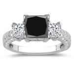 2.30-2.50 Cts Black Diamond & 0.80 Cts White Diamond Ring in 14K White Gold
