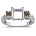 0.88 Cts Champagne Diamond Ring Setting in 14K White Gold
