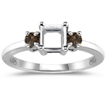 0.22 Cts Champagne Diamond Ring Setting in 14K White Gold