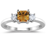0.20 Cts Diamond & 0.69 Cts Citrine Ring in 14K White Gold