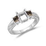 0.53 Cts Champagne & White Diamond Ring Setting in 14K White Gold