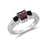 0.64-0.88 Cts Black Diamond, 0.03 Cts Diamond & 0.97 Cts AAA Garnet Ring in 14K White Gold