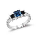 0.64-0.88 Cts Black Diamond & 0.69 Cts London Blue Topaz Ring in 14K White Gold